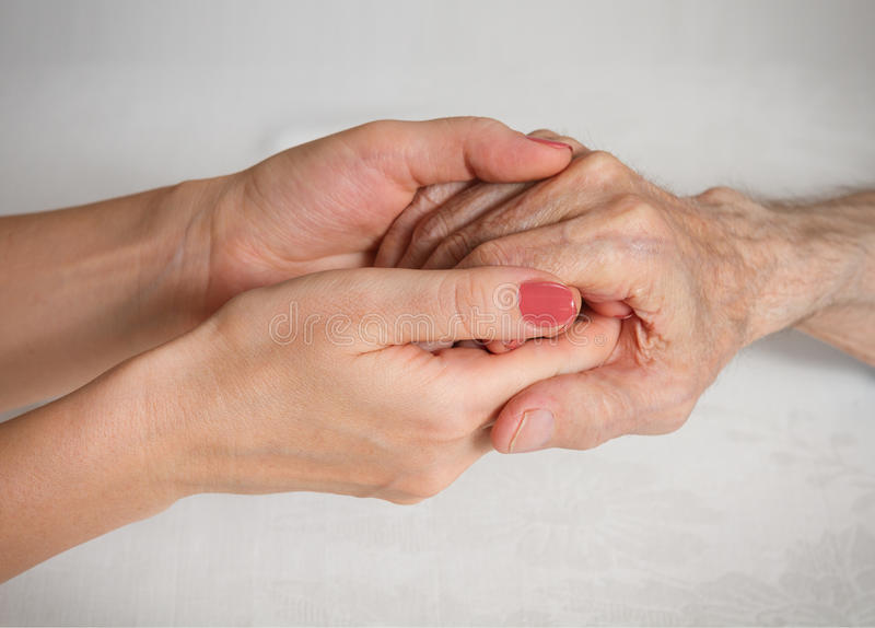 Care is at home of elderly. Concept of health care for elderly old people, disabled stock photo