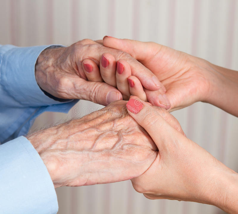 Care is at home of elderly. See my other works in portfolio stock photo