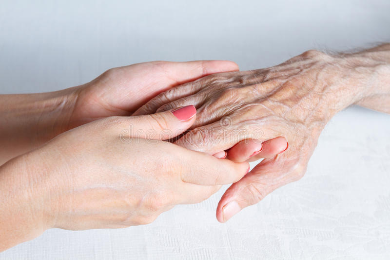 Care is at home of elderly. See my other works in portfolio stock images