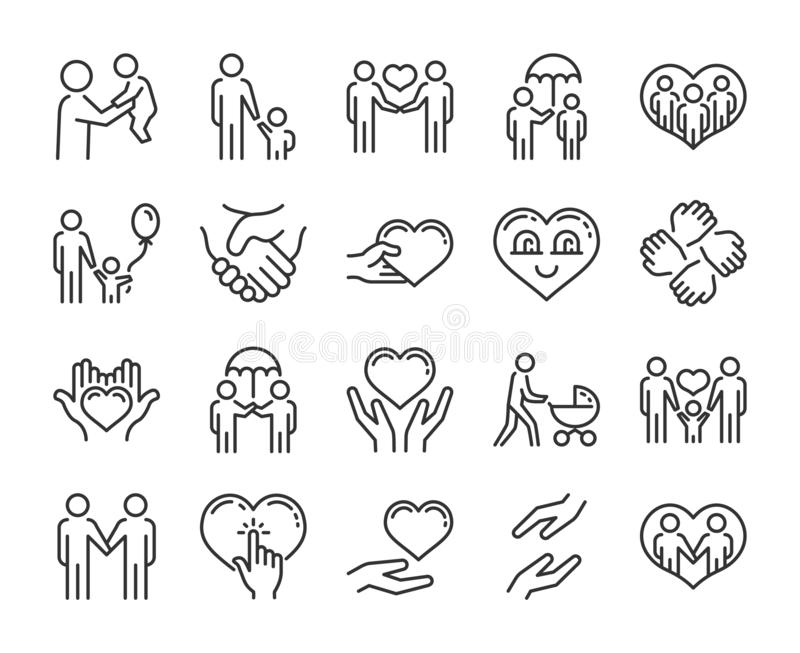 Care icon. Help and sympathy line icon set. Editable stroke. Care icon. Help and sympathy line icon set. Editable stroke royalty free illustration