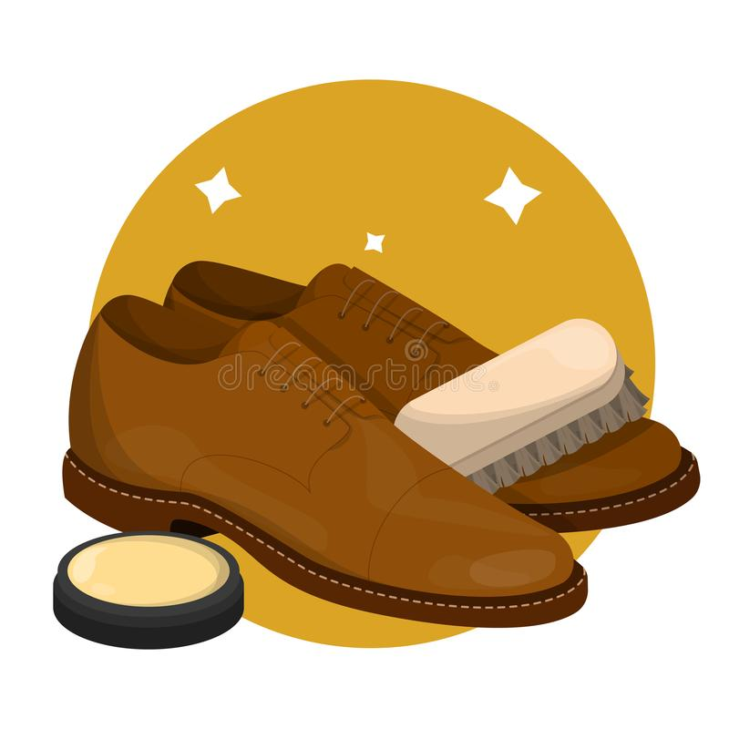 Care for leather shoes. Clean footwear polishing. Care for leather shoes. Polishing clean footwear with wax. Business accessory. Classic style. Vector stock illustration