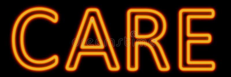 Care neon sign stock illustration