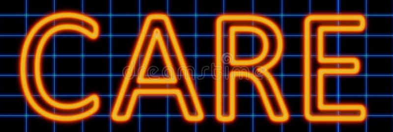Care neon sign vector illustration
