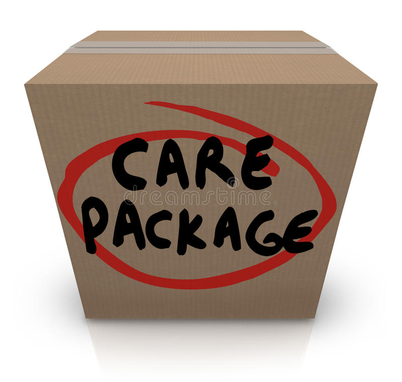 Free Care Package Cardboard Box Words Support Emergency Aid Stock Photos - 32019643