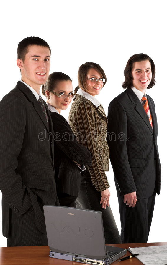 Career. Four young businessmen on white isolated background royalty free stock image