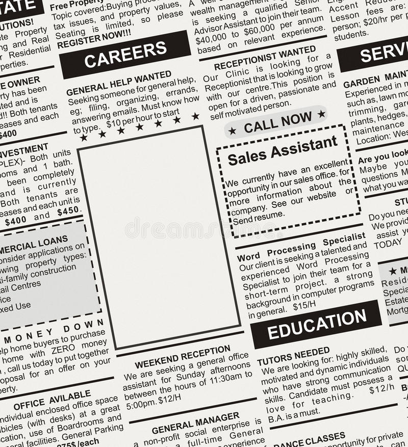 Download Career Ad stock photo. Image of paper, classifieds, blank - 24513028