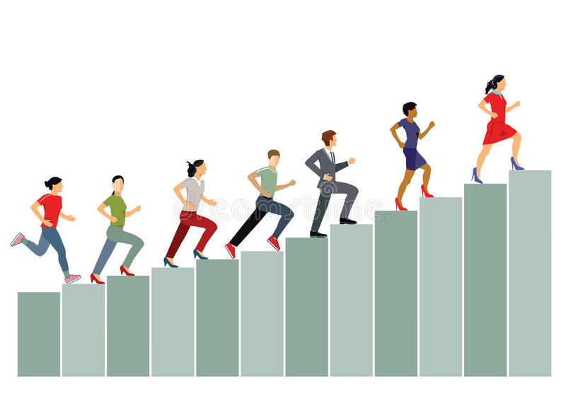 Career advancement. Business professional running up graph as metaphor for career advancement vector illustration