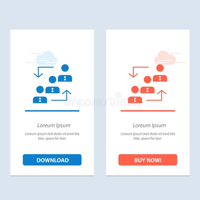 Career, Advancement, Employee, Ladder, Promotion, Staff, Work  Blue and Red Download and Buy Now web Widget Card Template vector illustration
