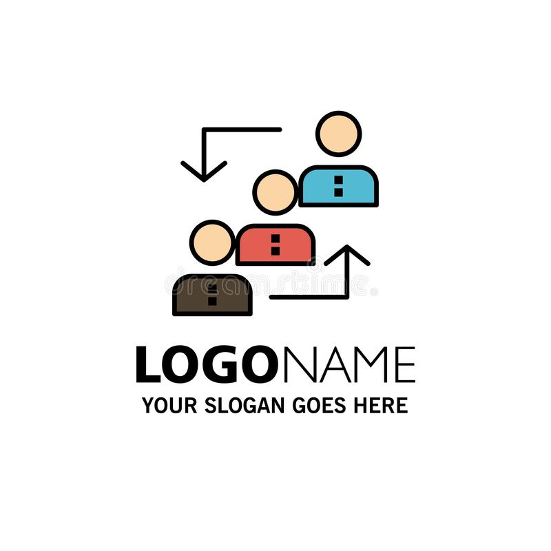Career, Advancement, Employee, Ladder, Promotion, Staff, Work Business Logo Template. Flat Color vector illustration