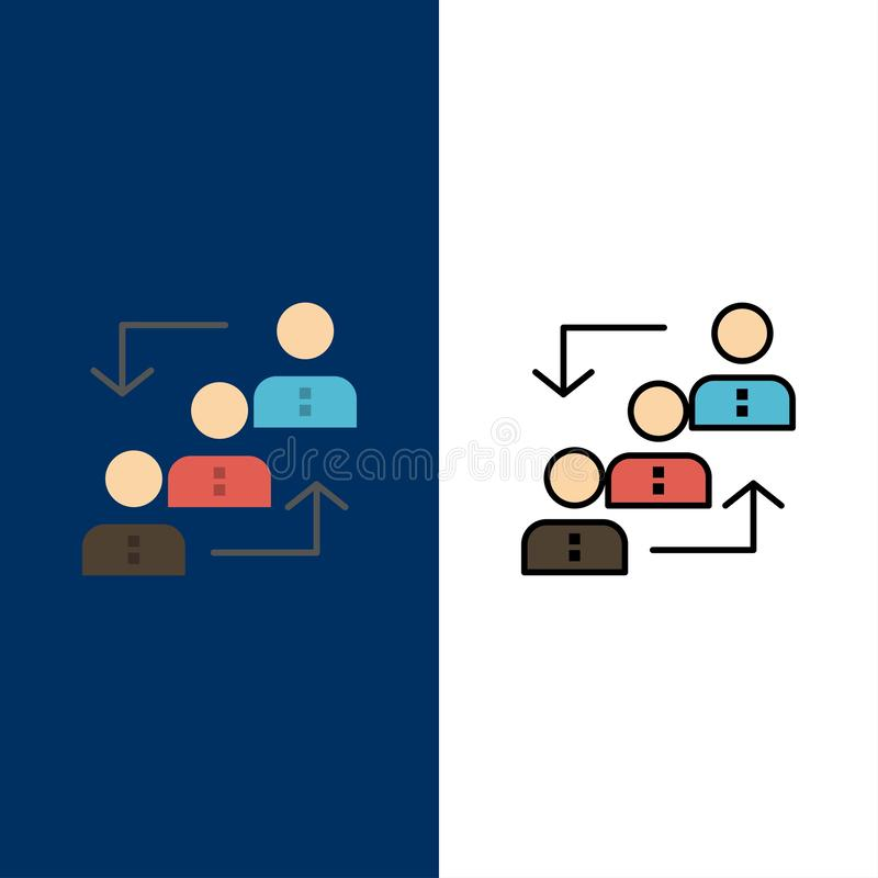 Career, Advancement, Employee, Ladder, Promotion, Staff, Work  Icons. Flat and Line Filled Icon Set Vector Blue Background stock illustration