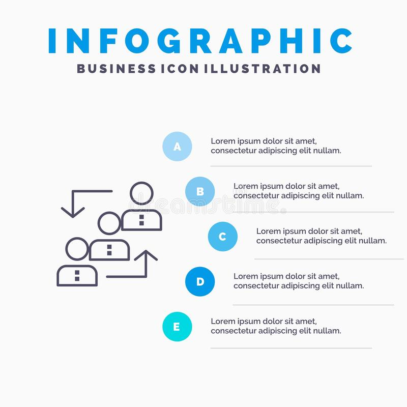 Career, Advancement, Employee, Ladder, Promotion, Staff, Work Line icon with 5 steps presentation infographics Background vector illustration
