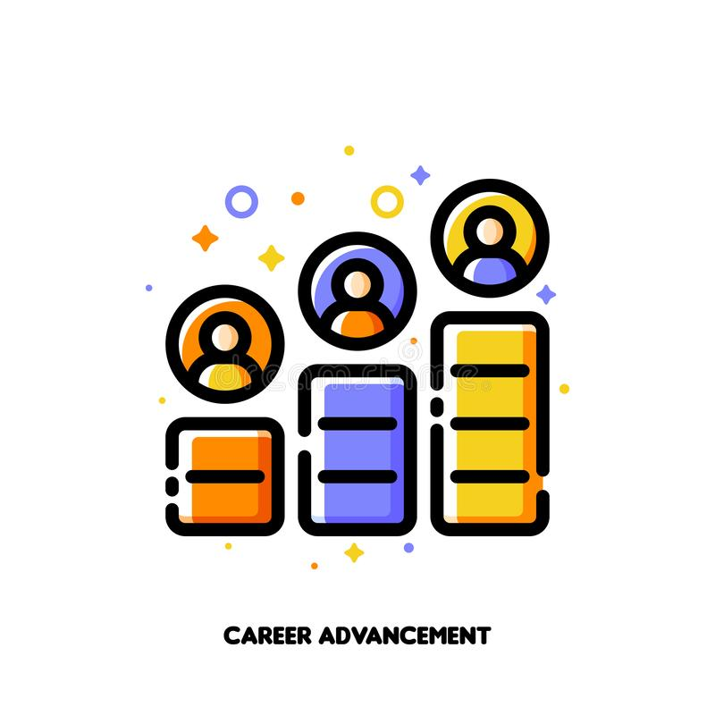 Career advancement icon for corporate management or business leader training concept. Flat filled outline style. Pixel perfect. 64x64. Editable stroke vector illustration
