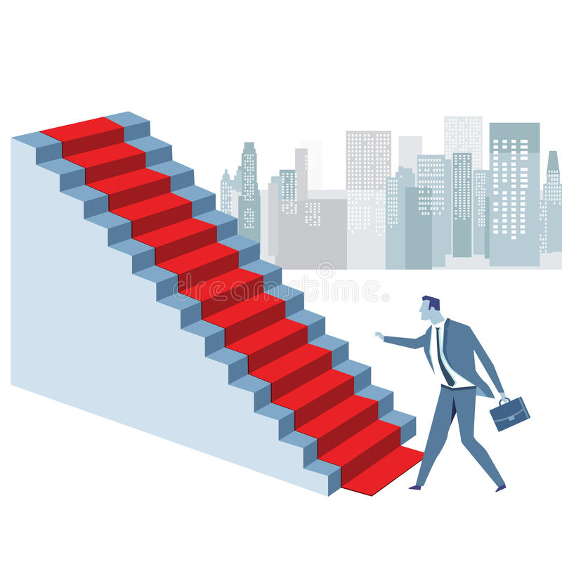 Career advancement. Illustration of businessman with briefcase at bottom of staircase with red carpet, concept of promotion or career advancement, skyscraper and vector illustration