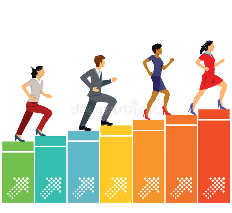 Career advancement. Professional women and man climbing colorful bar chart representing career advancement against white background vector illustration