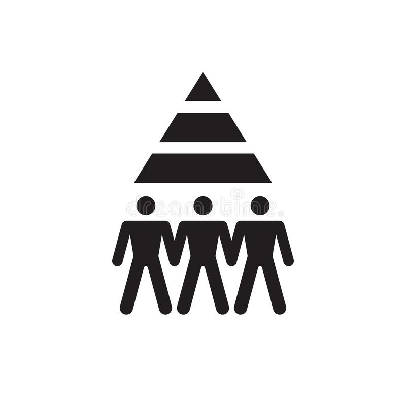 Career - black icon design. Group of people and pyramid. Teamwork friendship sign. Recruitment symbol. Vector illustration. vector illustration
