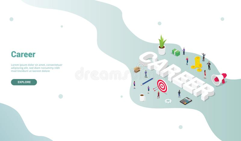 Career business work concept with isometric modern flat style for landing homepage design website - vector stock illustration