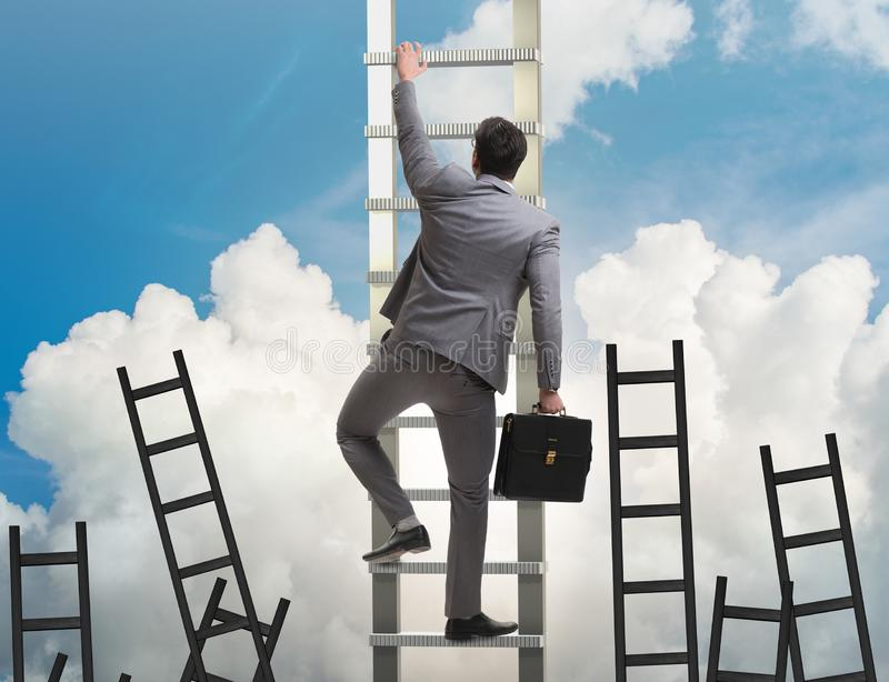 Career concept with businessman climbing ladder stock images