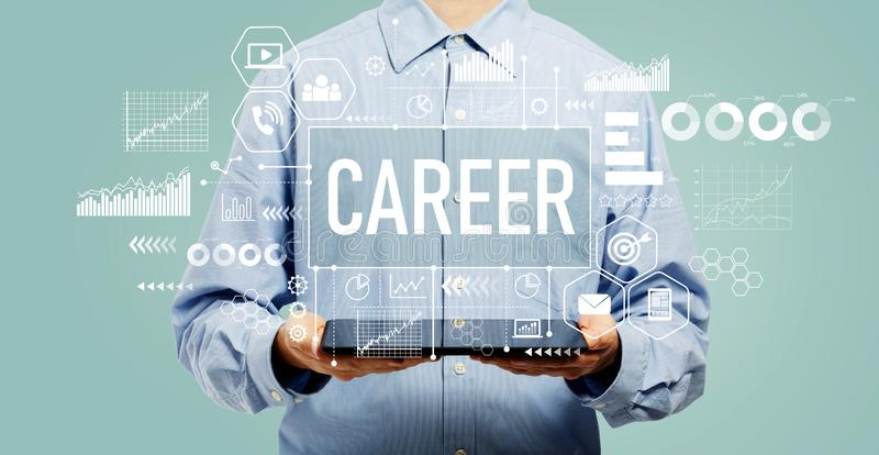 Career concept with man holding a tablet royalty free stock images