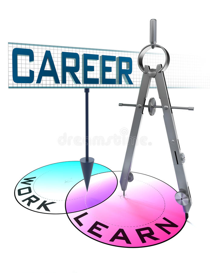 Career conceptual diagram with words learn and work. Career conceptual image with words learn and work in circles and drawing compass vector illustration