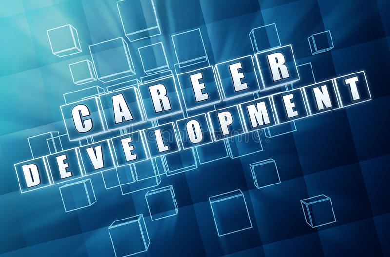 Career development in blue glass cubes royalty free illustration