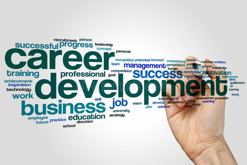 Career development word cloud concept on grey background royalty free stock image