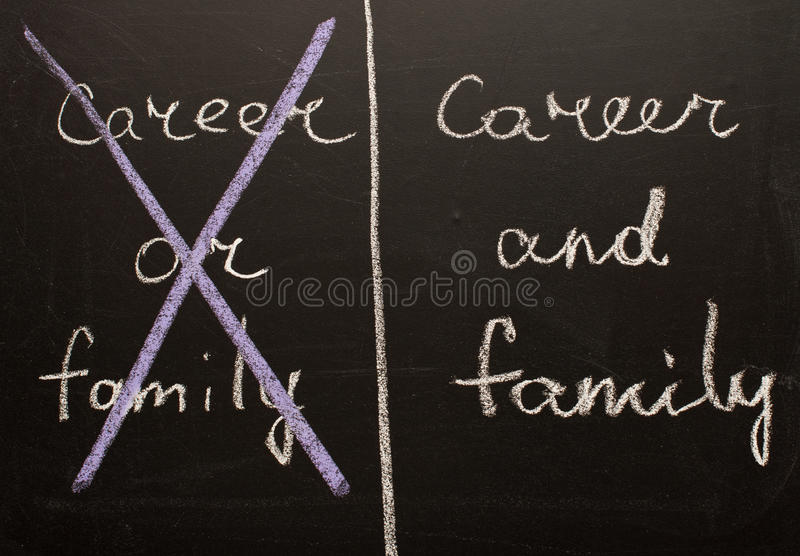 Career and family. Written on the chalkboard royalty free stock image