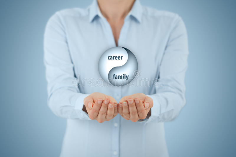 Career and family balance. (work life balance) concept. Female life coach (career manager) give advice about career-family (work-life) balance, central stock images