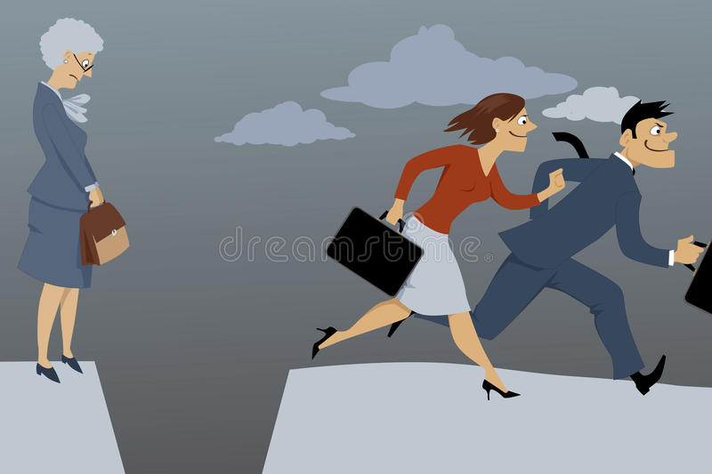 Career gap for older woman. Senior woman standing on the edge of the gap, separated her from competing younger employees, vector illustration, EPS 8 vector illustration