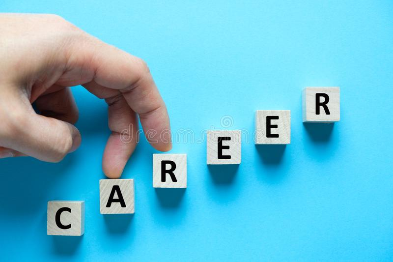 Career growth concept using wooden cubes stock photography