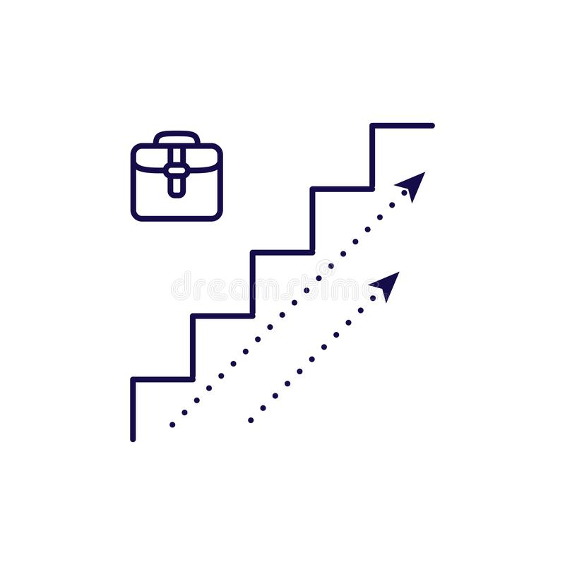 Career growth icon vector. Outline style stairs upwords direction. royalty free illustration