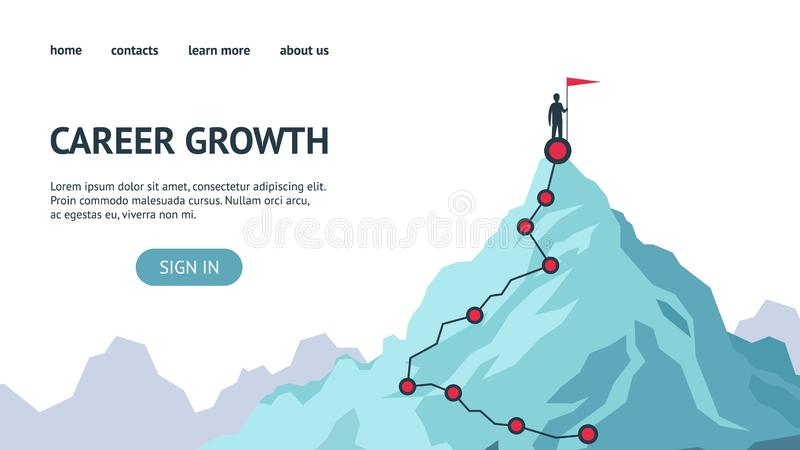 Career growth landing page. Process journey to success. Climbing to the top of mountains. Vector flat modern. Illustration success, achievment, motivation royalty free illustration