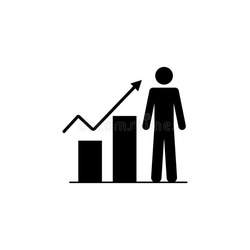 career growth, schedule, man icon. Simple glyph, flat vector of People icons for UI and UX, website or mobile application royalty free illustration