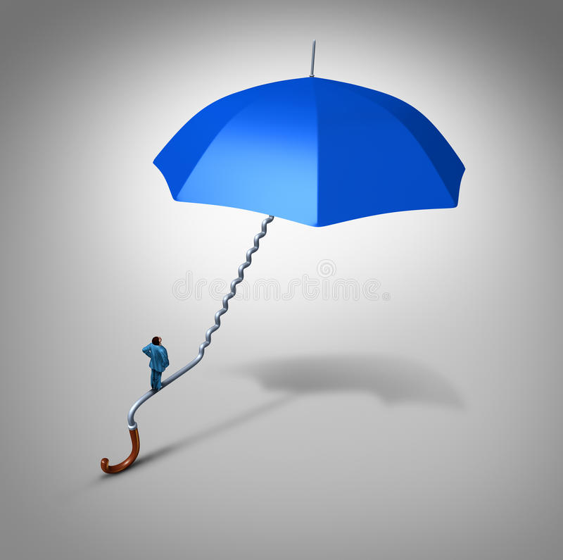 Career And Job Security. Path protection as an employee climbing a blue umbrella handle shaped as a stairway path as a business metaphor and financial symbol stock illustration
