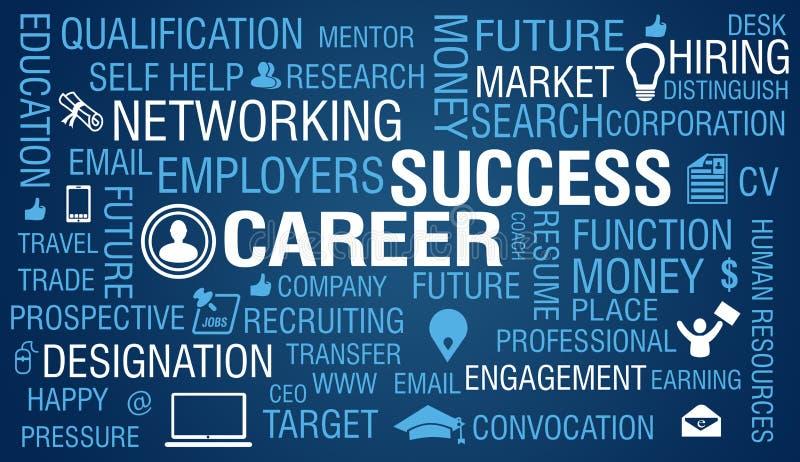 Career & Job Success Concept on blue background.  stock illustration