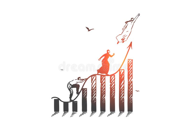 Career ladder, competition concept sketch. Hand drawn isolated vector. Career ladder, competition concept sketch. Business aspirations, job promotion, corporate royalty free illustration
