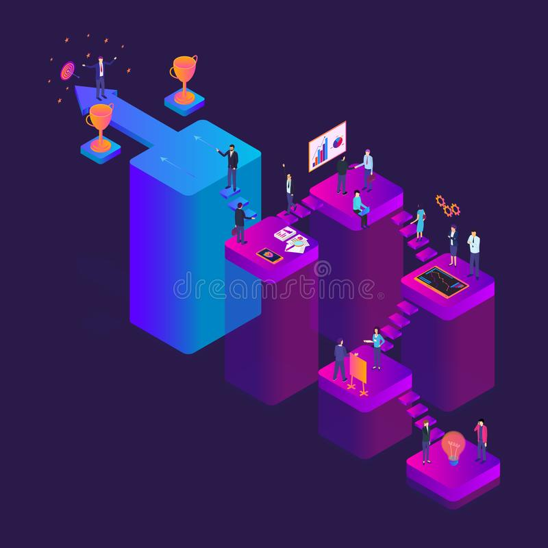 Career Ladder Concept 3d Isometric View. Vector. Career Ladder Business Step Concept 3d Isometric View Achievement Leadership. Vector illustration of Growth stock illustration