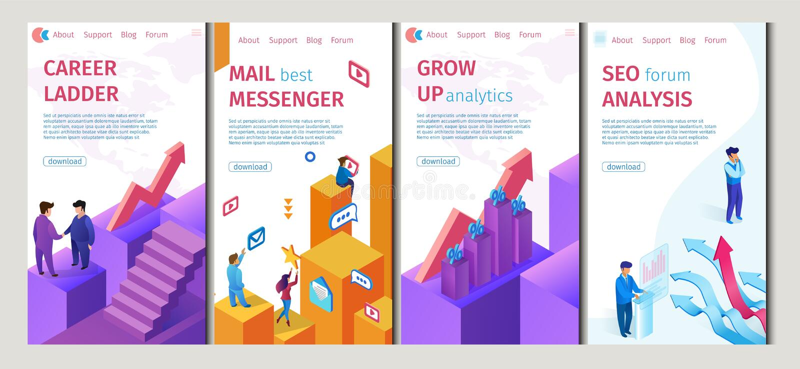 Career Ladder, Mail Best Messenger Set Flat Banner stock illustration