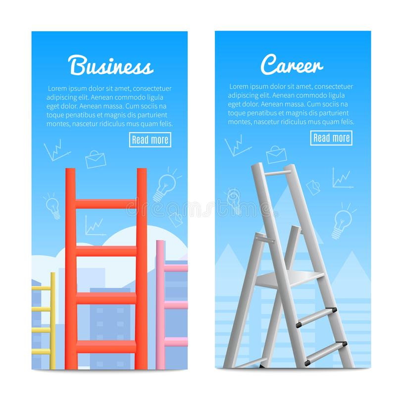 Career Ladders Realistic Banners. Career ladder business job promotion metaphor 2 realistic vertical informative banners web page design isolated vector royalty free illustration