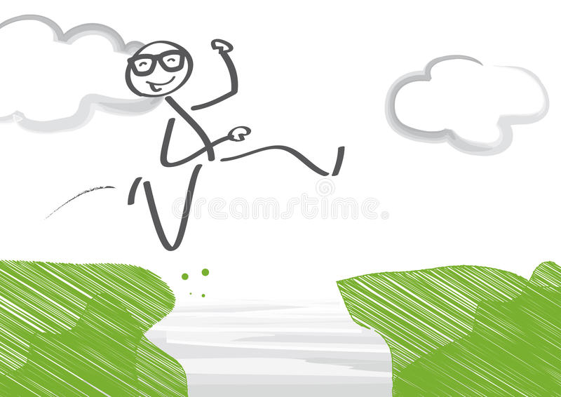 Career leap. Businessman jumping over gap stock illustration