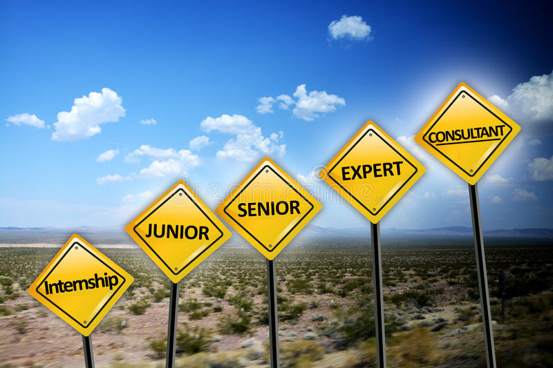 Career level concept with different stages of professional experience on yellow road signs on desert landscape. Career level concept with different stages of stock photos