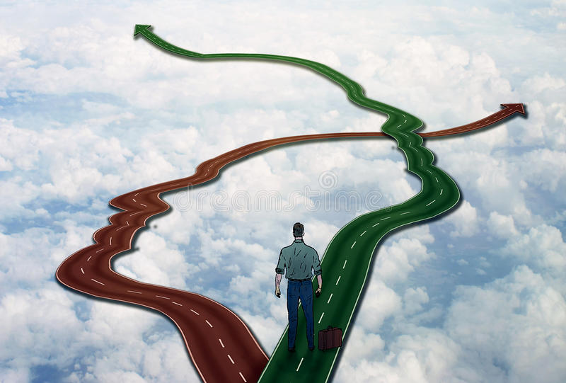 Career life choice concept man on crossroads. Career life choice concept. Social management business management. Person standing on two roads shaped as human royalty free stock photos