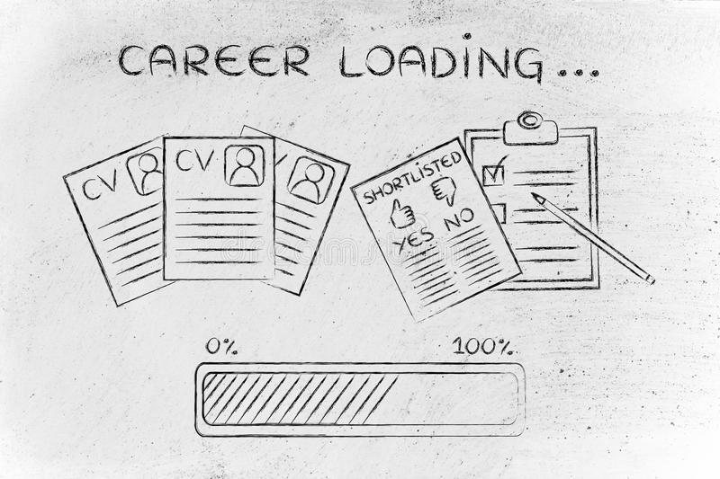 career loading  cv and shortlist of candidates stock photo