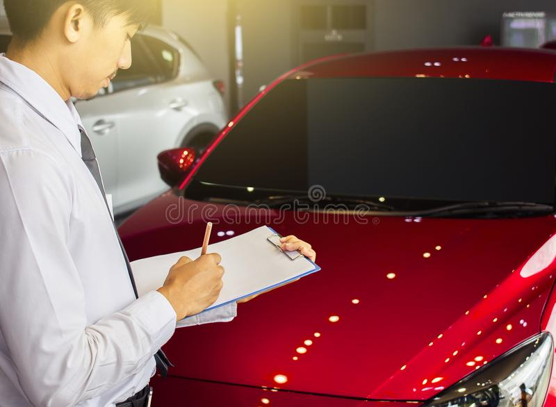 career man saleman business inspection writing on notepad or boo royalty free stock photo