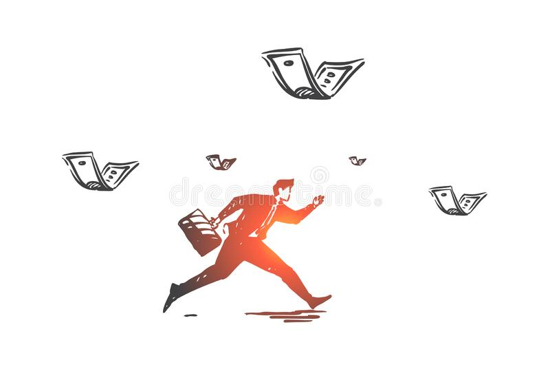 Career and money pursuit concept sketch. Hand drawn isolated vector. Career and money pursuit concept sketch. Businessman running after flying banknotes, race stock illustration