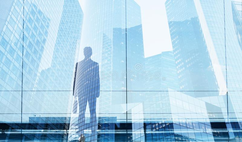 Career opportunity or business success concept. Businessman double exposure, career opportunity or business success concept stock photography