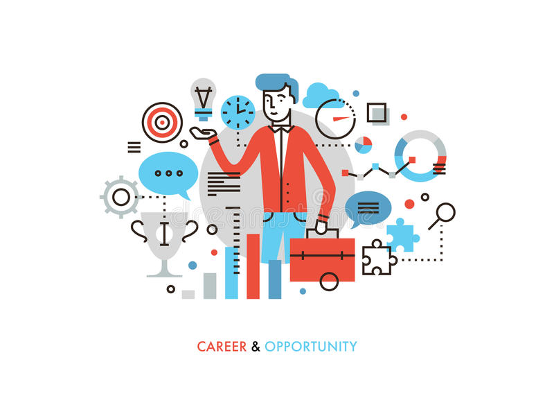 Career opportunity flat line illustration. Thin line flat design of business leader with success idea, career opportunity for leadership development, marketing royalty free illustration