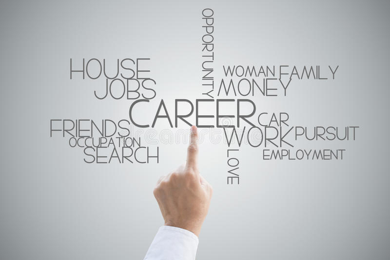 Career opportunity hand press concept. On grey background royalty free stock photography