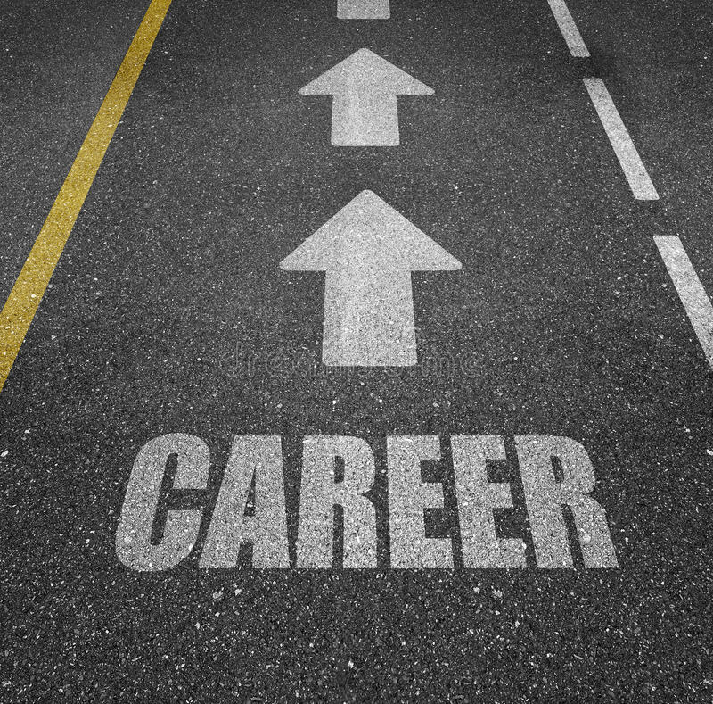 Career path. A highway with the text 'career' painted on it royalty free stock photography