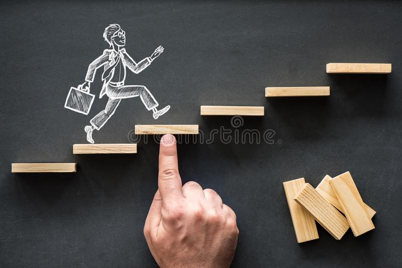 Career Planning and Business Challenge Concept. With Hand Drawn Chalk Illustrations on Blackboard stock photography