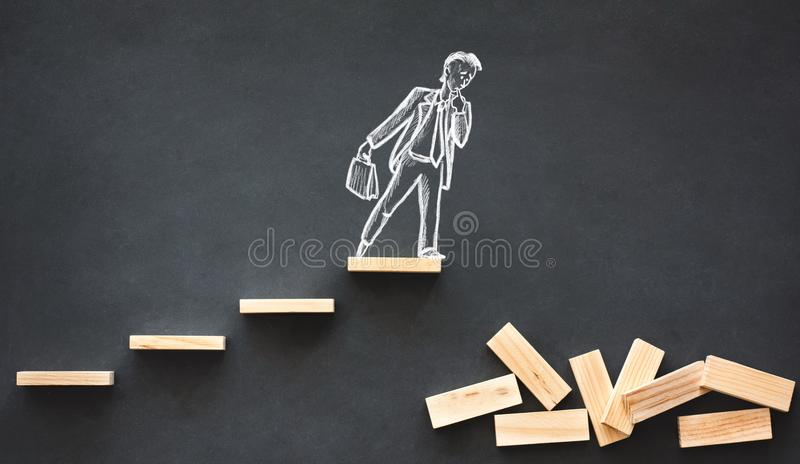 Career Planning and Business Challenge Concept. With Hand Drawn Chalk Illustrations on Blackboard royalty free stock photography
